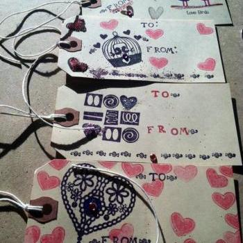 Handmade Valentines Day Gift Tags - 6 different tags